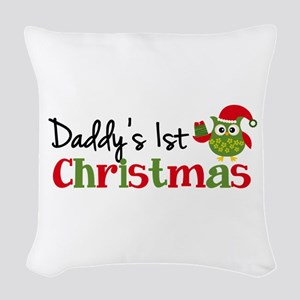 Daddy's 1st Christmas Owl Woven Throw Pillow