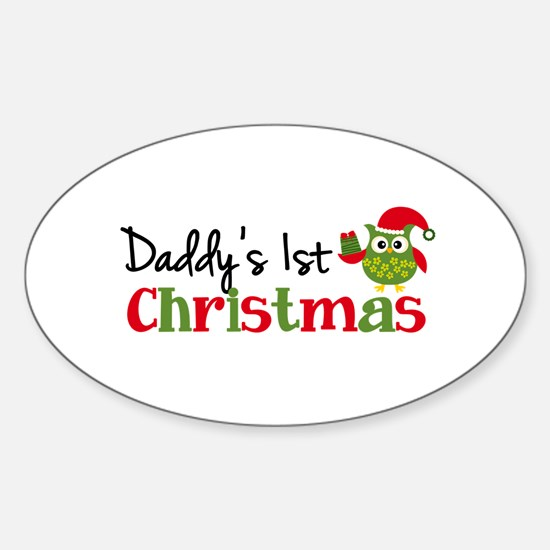 Daddy's 1st Christmas Owl Sticker (Oval)