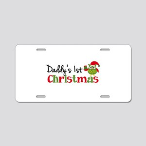 Daddy's 1st Christmas Owl Aluminum License Plate