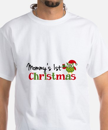 Mommy's 1st Christmas Owl White T-Shirt