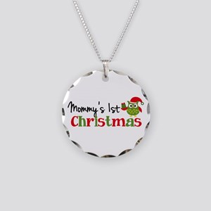 Mommy's 1st Christmas Owl Necklace Circle Charm