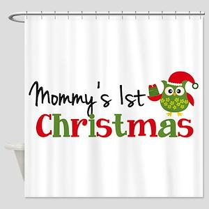 Mommy's 1st Christmas Owl Shower Curtain