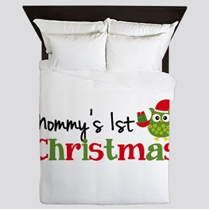 Mommy's 1st Christmas Owl Queen Duvet