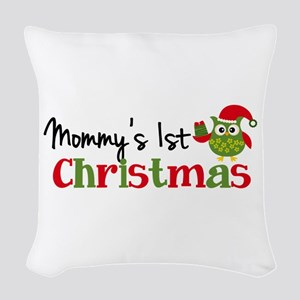 Mommy's 1st Christmas Owl Woven Throw Pillow