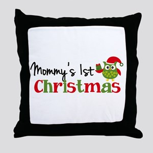 Mommy's 1st Christmas Owl Throw Pillow