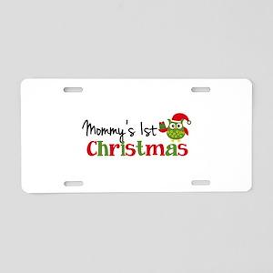 Mommy's 1st Christmas Owl Aluminum License Plate