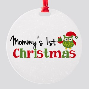 Mommy's 1st Christmas Owl Round Ornament