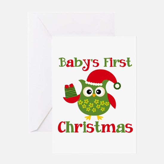 Baby's First Christmas Owl 2 Greeting Card
