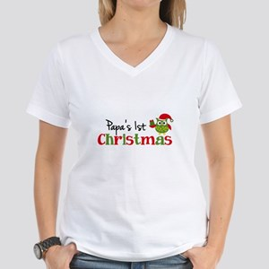 Papa's 1st Christmas Owl Women's V-Neck T-Shirt