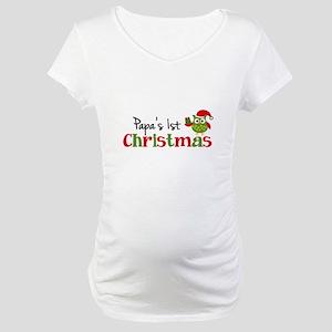 Papa's 1st Christmas Owl Maternity T-Shirt