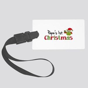 Papa's 1st Christmas Owl Large Luggage Tag