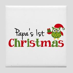 Papa's 1st Christmas Owl Tile Coaster
