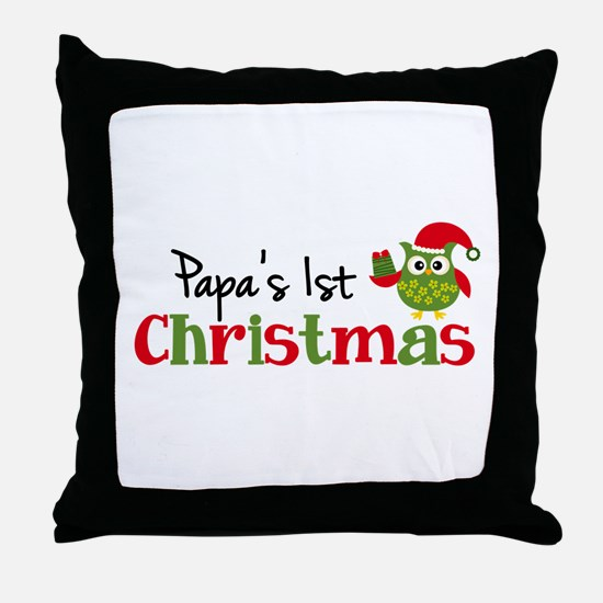 Papa's 1st Christmas Owl Throw Pillow
