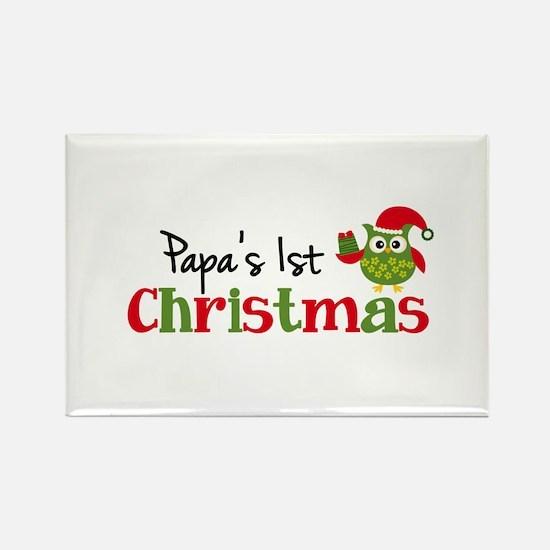 Papa's 1st Christmas Owl Rectangle Magnet