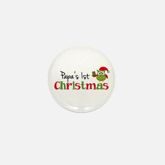 Papa's 1st Christmas Owl Mini Button