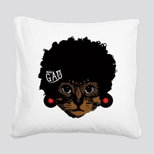 Cat Afro Square Canvas Pillow