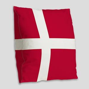 Danish Flag Burlap Throw Pillow