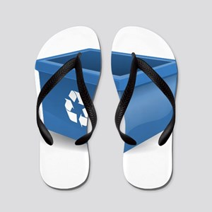 Blue Recycling Bin Flip Flops