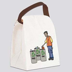 Recycling Trash Cans Canvas Lunch Bag
