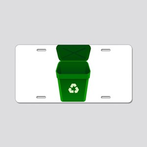 Green Recycling Trash Can Aluminum License Plate
