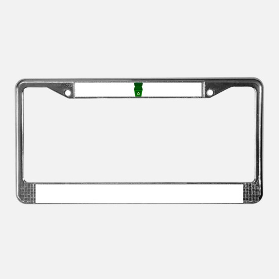 Green Recycling Trash Can License Plate Frame