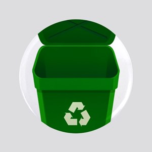 """Green Recycling Trash Can 3.5"""" Button"""