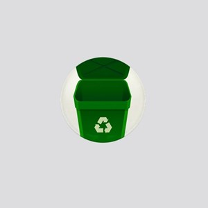 Green Recycling Trash Can Mini Button