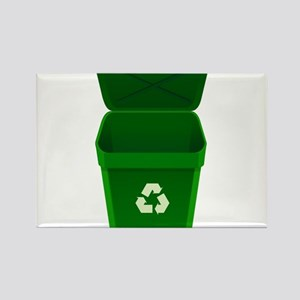 Green Recycling Trash Can Magnets