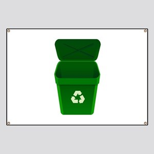 Green Recycling Trash Can Banner