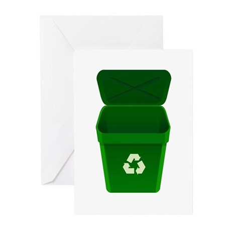 Green Recycling Trash Can Greeting Cards