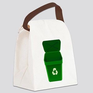 Green Recycling Trash Can Canvas Lunch Bag