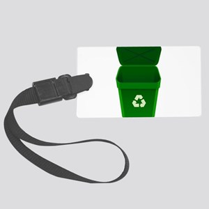 Green Recycling Trash Can Luggage Tag
