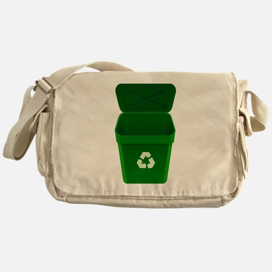 Green Recycling Trash Can Messenger Bag