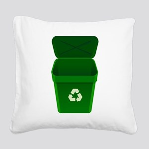 Green Recycling Trash Can Square Canvas Pillow