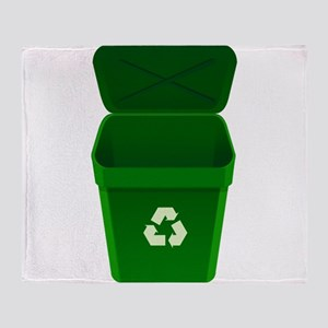 Green Recycling Trash Can Throw Blanket