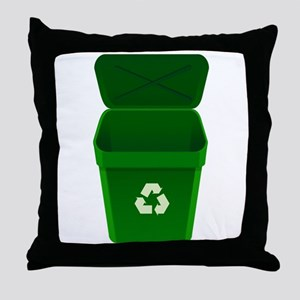 Green Recycling Trash Can Throw Pillow