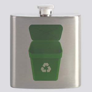 Green Recycling Trash Can Flask