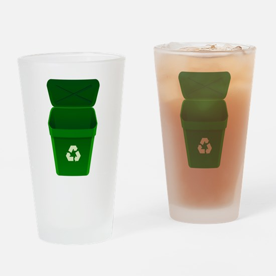 Green Recycling Trash Can Drinking Glass