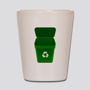 Green Recycling Trash Can Shot Glass