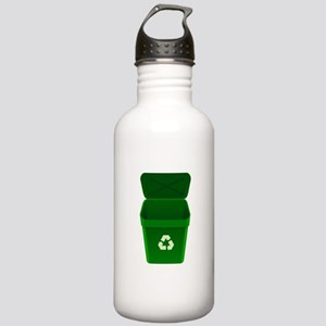 Green Recycling Trash Can Water Bottle