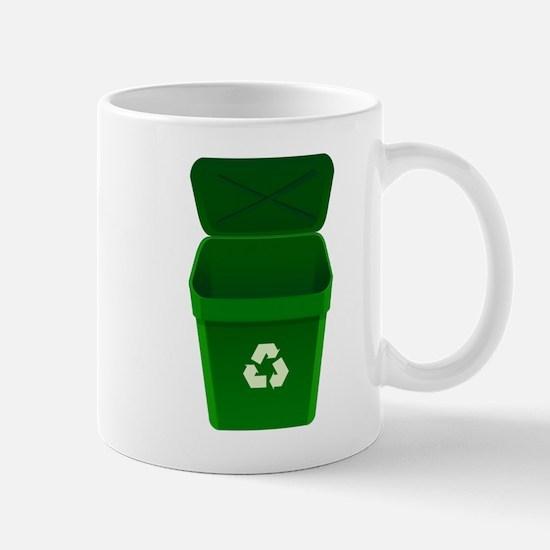 Green Recycling Trash Can Mugs