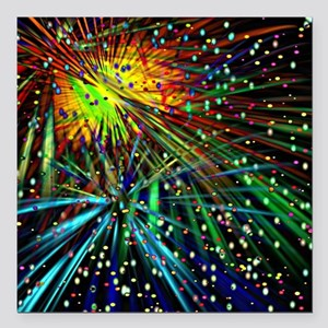 "Fireworks Galore Square Car Magnet 3"" x 3"""