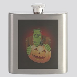 Frankenstein Monster Cartoon with Pumpkin Flask