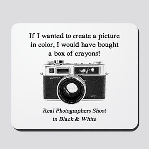 Black and White Photographer Mousepad