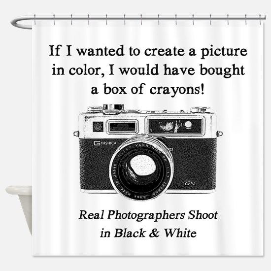 Black and White Photographer Shower Curtain