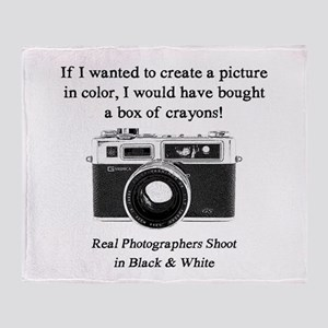 Black and White Photographer Throw Blanket