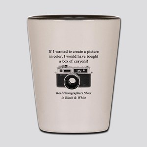 Black and White Photographer Shot Glass