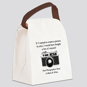 Black and White Photographer Canvas Lunch Bag
