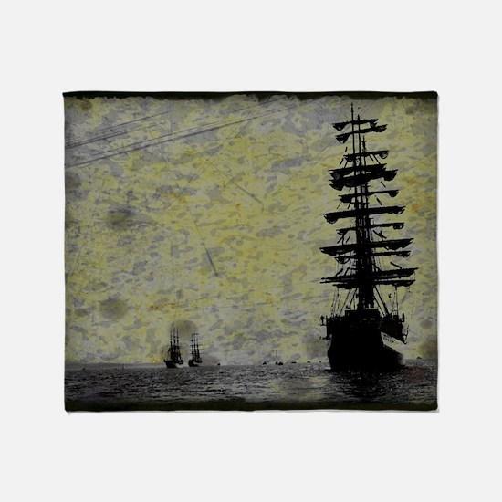 vintage pirate ship landscape Throw Blanket