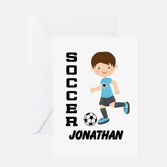Personalized Soccer Sports Boy Greeting Cards